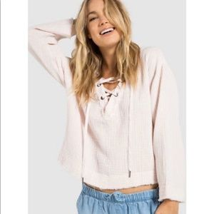 Cloth & Stone Anthropologie Lace Up White Top S